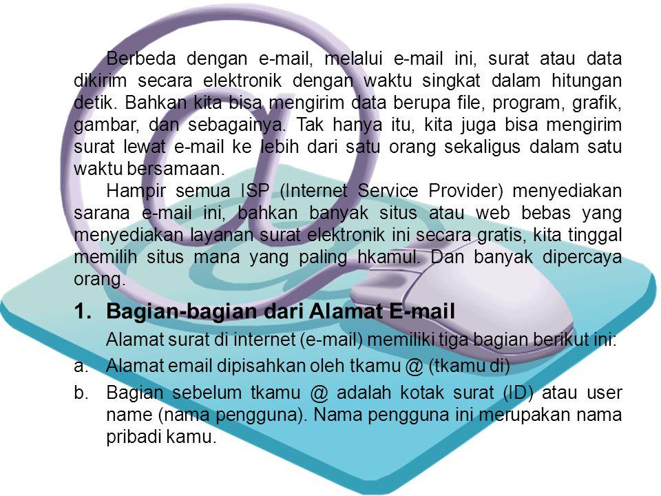 1.Bagian-bagian dari Alamat E-mail Alamat surat di internet (e-mail) memiliki tiga bagian berikut ini: a.Alamat email dipisahkan oleh tkamu @ (tkamu di) b.Bagian sebelum tkamu @ adalah kotak surat (ID) atau user name (nama pengguna).
