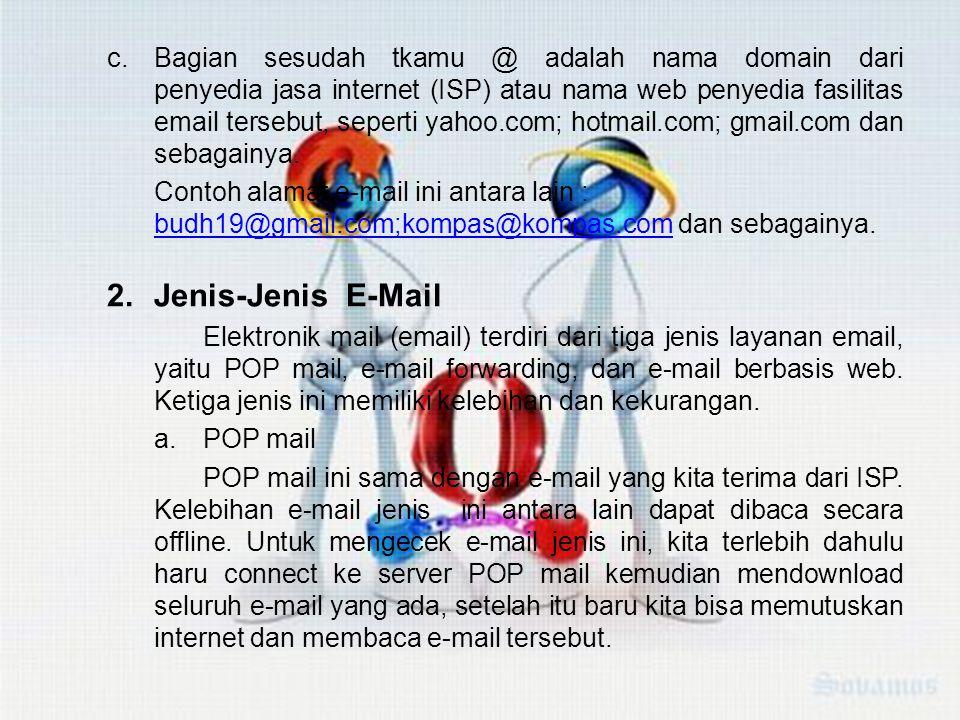 c.Bagian sesudah tkamu @ adalah nama domain dari penyedia jasa internet (ISP) atau nama web penyedia fasilitas email tersebut, seperti yahoo.com; hotmail.com; gmail.com dan sebagainya.