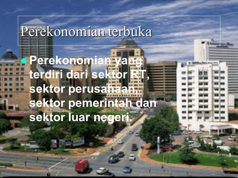 Perekonomian terbuka Perekonomian yang terdiri dari sektor RT, sektor perusahaan, sektor pemerintah dan sektor luar negeri.