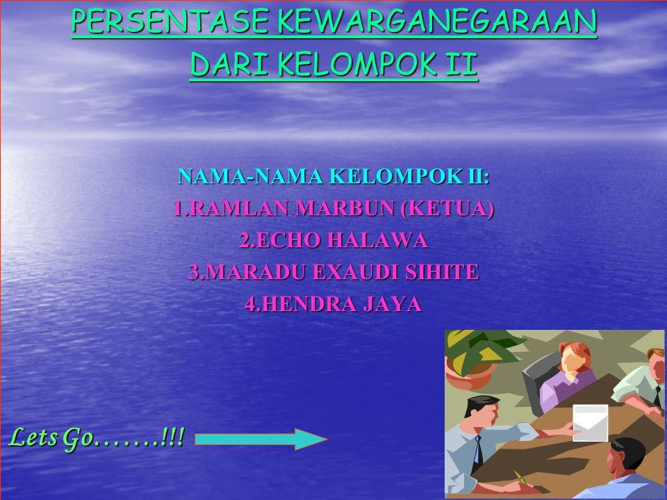 PERSENTASE KEWARGANEGARAAN DARI KELOMPOK II NAMA-NAMA KELOMPOK II: 1.RAMLAN MARBUN (KETUA) 2.ECHO HALAWA 3.MARADU EXAUDI SIHITE 4.HENDRA JAYA Lets Go…
