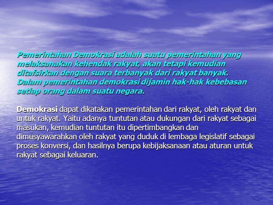 Perkembangan demokrasi di indonesia dapat dibagi dalam empat periode yaitu: Periode 1945-1959; Periode 1945-1959; Periode 1959-1965; Periode 1959-1965; Periode 1965-1998; Periode 1965-1998; Periode 1998- sekarang.