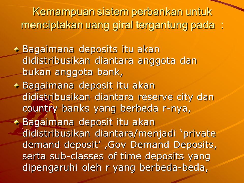 Kemampuan sistem perbankan untuk menciptakan uang giral tergantung pada : Bagaimana deposits itu akan didistribusikan diantara anggota dan bukan anggo