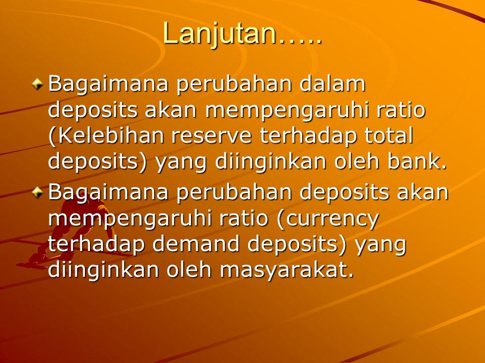 Lanjutan….. Bagaimana perubahan dalam deposits akan mempengaruhi ratio (Kelebihan reserve terhadap total deposits) yang diinginkan oleh bank. Bagaiman