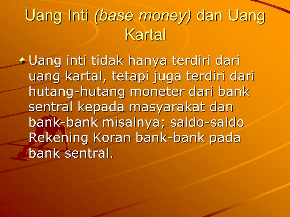 Jumlah total dari reserve bank-bank komersial (R) terdiri dari : RRm= Required reserves of member banks, ERm=Excess reserves of member banks, VCn=Vault cash of non member banks, R = RRm + ERm + VCn RRm = R d + R t R d =rr behind DD at member banks R t = rr behind TD at member banks