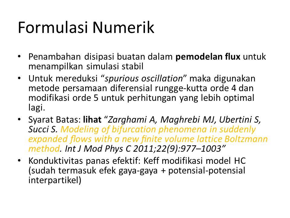 Formulasi Numerik Penambahan disipasi buatan dalam pemodelan flux untuk menampilkan simulasi stabil Untuk mereduksi spurious oscillation maka digunakan metode persamaan diferensial rungge-kutta orde 4 dan modifikasi orde 5 untuk perhitungan yang lebih optimal lagi.