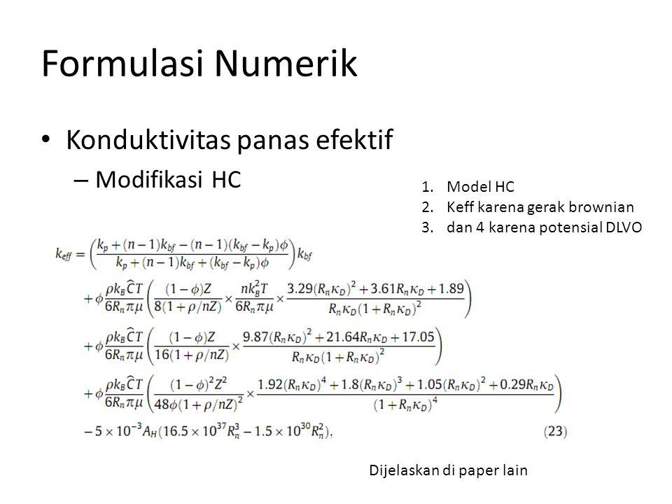 Formulasi Numerik Konduktivitas panas efektif – Modifikasi HC 1.Model HC 2.Keff karena gerak brownian 3.dan 4 karena potensial DLVO Dijelaskan di paper lain