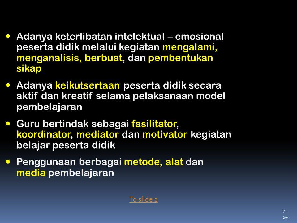 7 - 54 Adanya keterlibatan intelektual – emosional peserta didik melalui kegiatan mengalami, menganalisis, berbuat, dan pembentukan sikap Adanya keiku