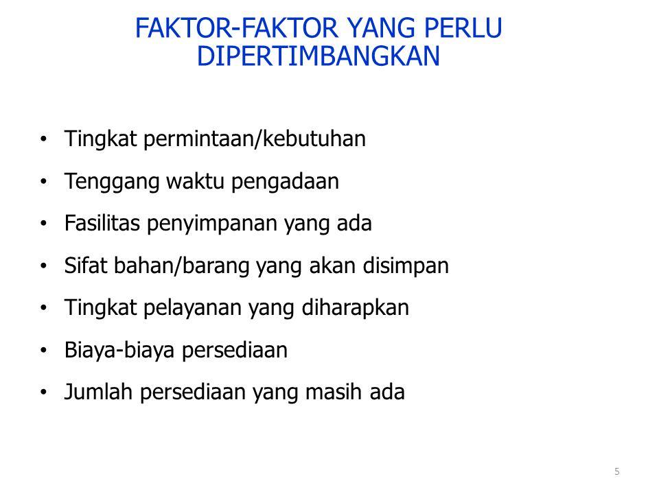 5 FAKTOR-FAKTOR YANG PERLU DIPERTIMBANGKAN Tingkat permintaan/kebutuhan Tenggang waktu pengadaan Fasilitas penyimpanan yang ada Sifat bahan/barang yan