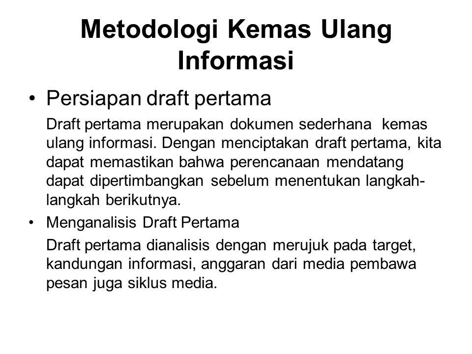 Metodologi Kemas Ulang Informasi Persiapan draft pertama Draft pertama merupakan dokumen sederhana kemas ulang informasi. Dengan menciptakan draft per