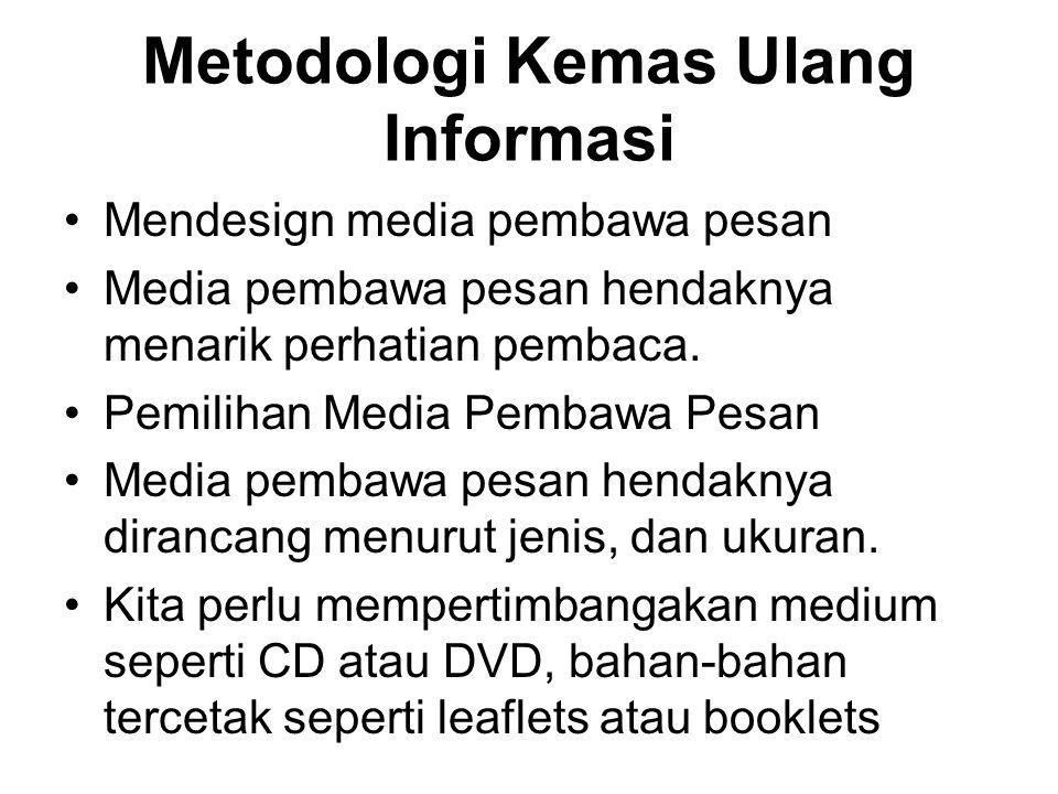 Metodologi Kemas Ulang Informasi Mendesign media pembawa pesan Media pembawa pesan hendaknya menarik perhatian pembaca. Pemilihan Media Pembawa Pesan
