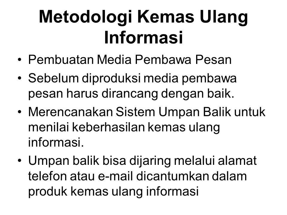 Metodologi Kemas Ulang Informasi Pembuatan Media Pembawa Pesan Sebelum diproduksi media pembawa pesan harus dirancang dengan baik. Merencanakan Sistem