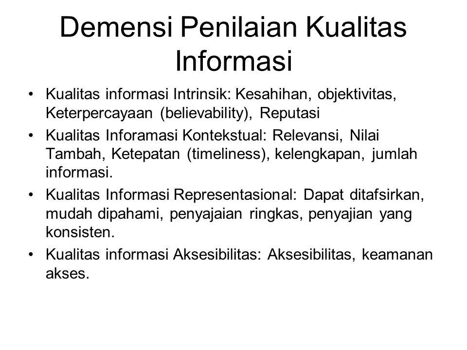 Demensi Penilaian Kualitas Informasi Kualitas informasi Intrinsik: Kesahihan, objektivitas, Keterpercayaan (believability), Reputasi Kualitas Inforama
