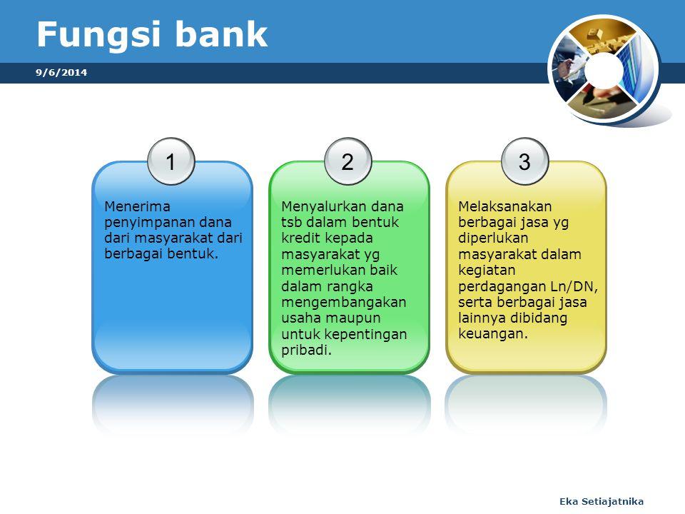 9/6/2014 Eka Setiajatnika Fungsi bank 1 Menerima penyimpanan dana dari masyarakat dari berbagai bentuk.
