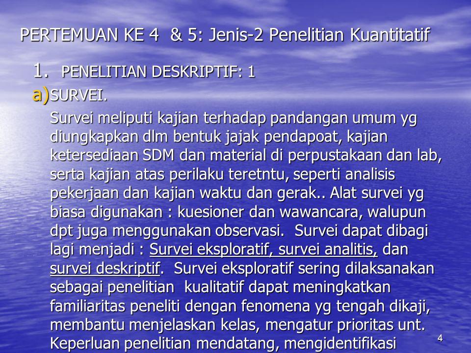 4 PERTEMUAN KE 4 & 5: Jenis-2 Penelitian Kuantitatif 1.