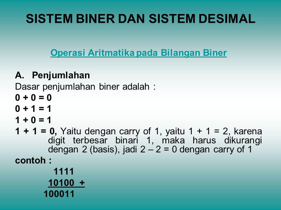 SISTEM BINER DAN SISTEM DESIMAL Operasi Aritmatika pada Bilangan Biner A. Penjumlahan Dasar penjumlahan biner adalah : 0 + 0 = 0 0 + 1 = 1 1 + 0 = 1 1