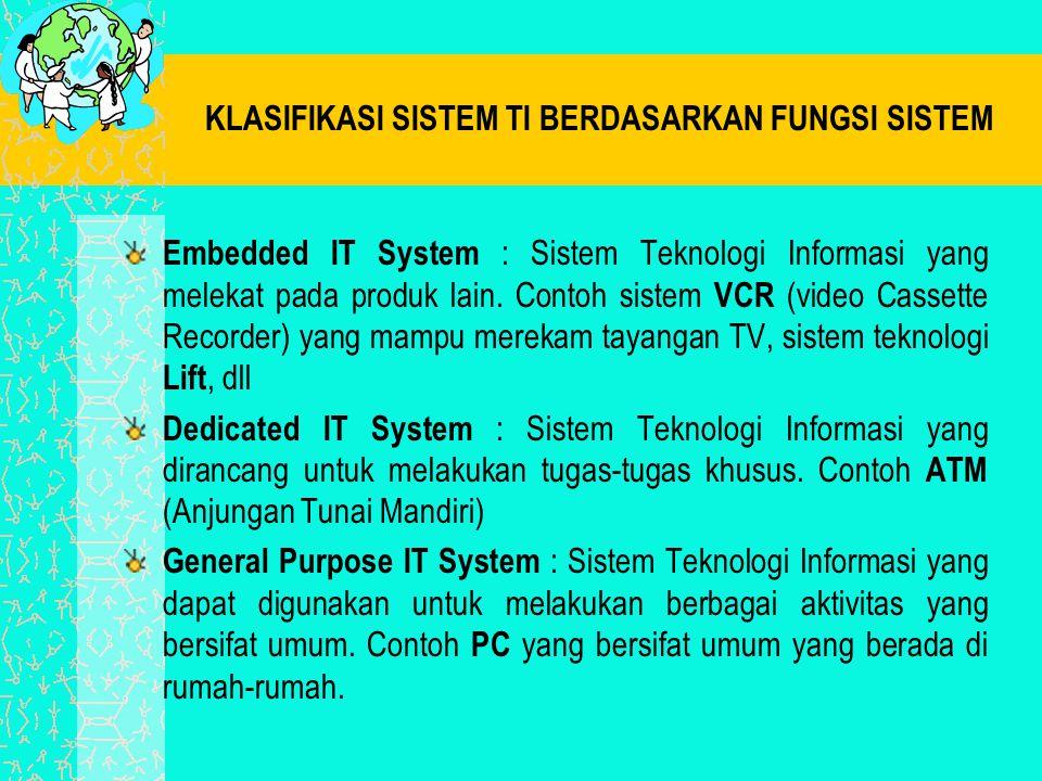 KLASIFIKASI SISTEM TI BERDASARKAN FUNGSI SISTEM Embedded IT System : Sistem Teknologi Informasi yang melekat pada produk lain. Contoh sistem VCR (vide
