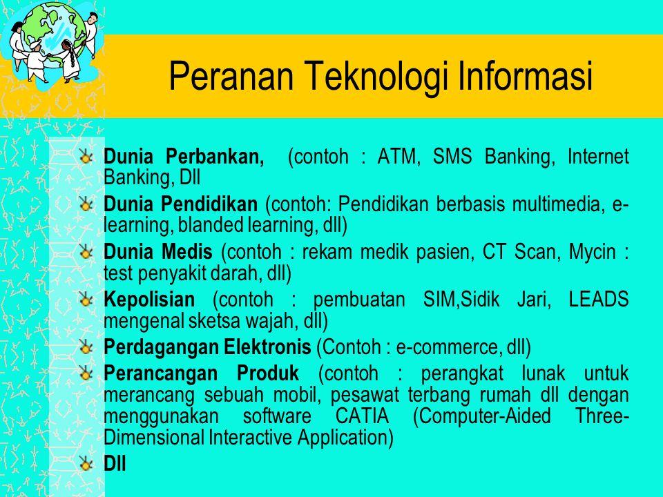 Peranan Teknologi Informasi Dunia Perbankan, (contoh : ATM, SMS Banking, Internet Banking, Dll Dunia Pendidikan (contoh: Pendidikan berbasis multimedi