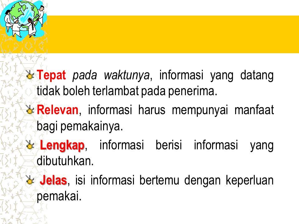 Tepat pada waktunya, informasi yang datang tidak boleh terlambat pada penerima. Relevan, informasi harus mempunyai manfaat bagi pemakainya. Lengkap Le
