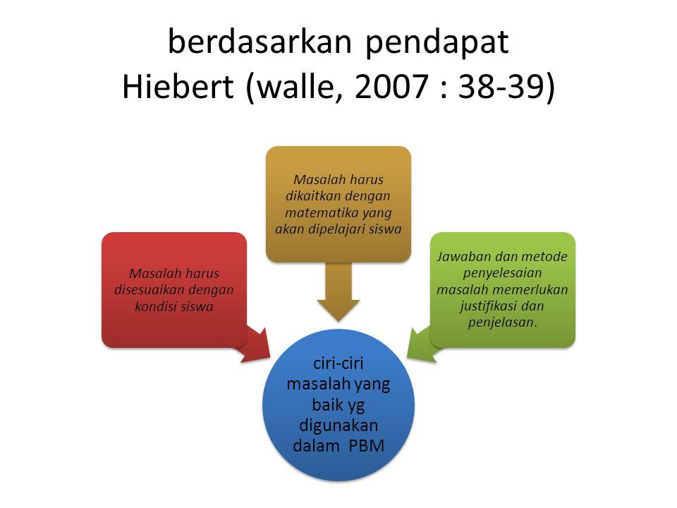 berdasarkan pendapat Hiebert (walle, 2007 : 38-39) ciri-ciri masalah yang baik yg digunakan dalam PBM Masalah harus disesuaikan dengan kondisi siswa M