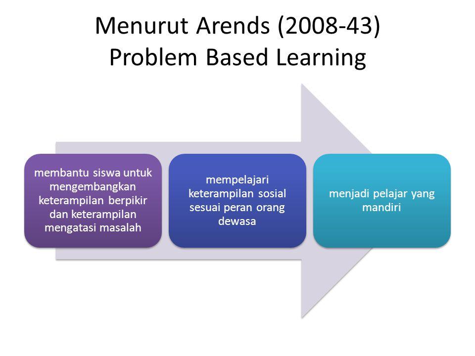 Menurut Arends (2008-43) Problem Based Learning membantu siswa untuk mengembangkan keterampilan berpikir dan keterampilan mengatasi masalah mempelajar