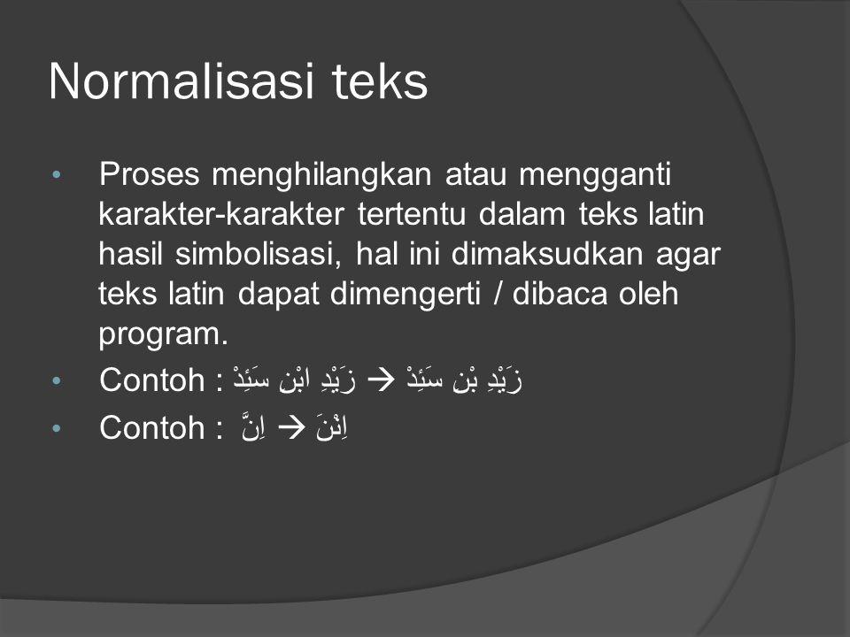 Normalisasi teks Proses menghilangkan atau mengganti karakter-karakter tertentu dalam teks latin hasil simbolisasi, hal ini dimaksudkan agar teks latin dapat dimengerti / dibaca oleh program.