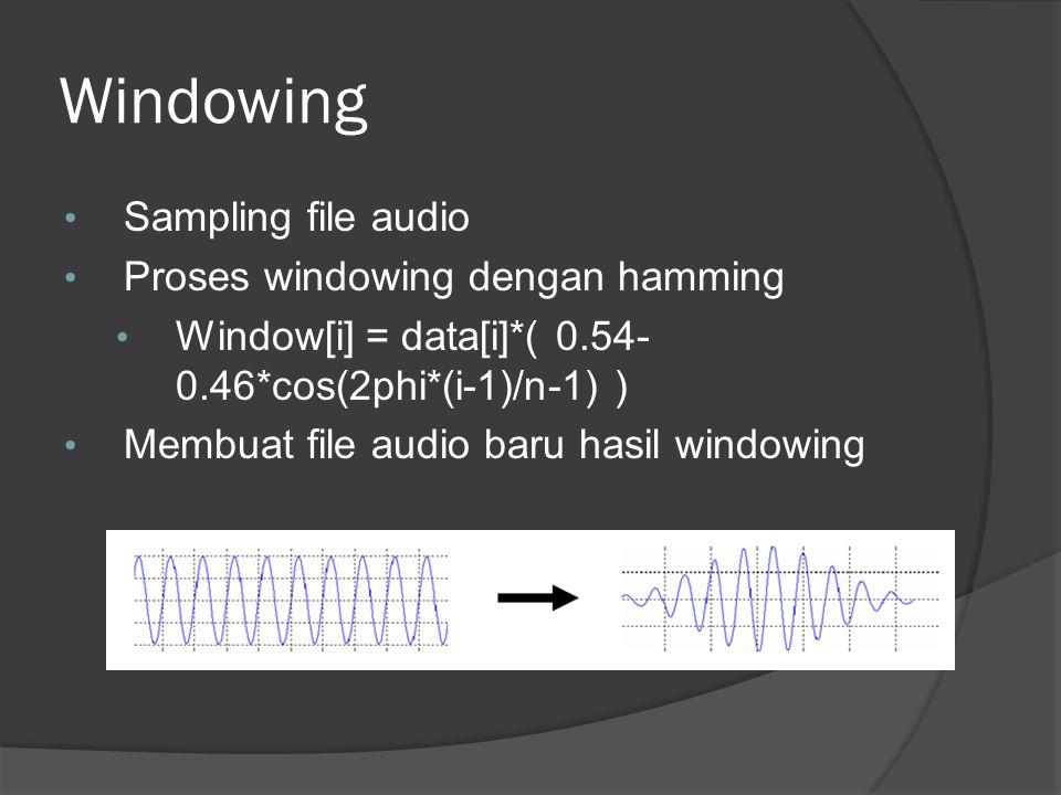 Windowing Sampling file audio Proses windowing dengan hamming Window[i] = data[i]*( 0.54- 0.46*cos(2phi*(i-1)/n-1) ) Membuat file audio baru hasil windowing