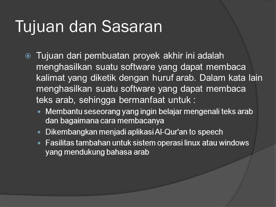 Tujuan dan Sasaran  Tujuan dari pembuatan proyek akhir ini adalah menghasilkan suatu software yang dapat membaca kalimat yang diketik dengan huruf arab.