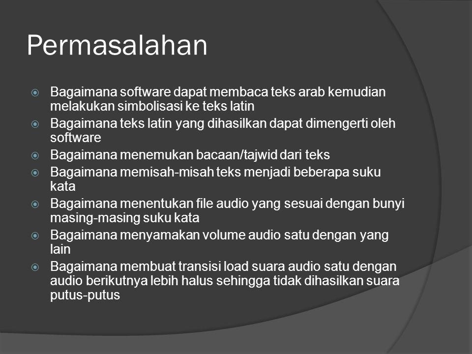 Permasalahan  Bagaimana software dapat membaca teks arab kemudian melakukan simbolisasi ke teks latin  Bagaimana teks latin yang dihasilkan dapat dimengerti oleh software  Bagaimana menemukan bacaan/tajwid dari teks  Bagaimana memisah-misah teks menjadi beberapa suku kata  Bagaimana menentukan file audio yang sesuai dengan bunyi masing-masing suku kata  Bagaimana menyamakan volume audio satu dengan yang lain  Bagaimana membuat transisi load suara audio satu dengan audio berikutnya lebih halus sehingga tidak dihasilkan suara putus-putus