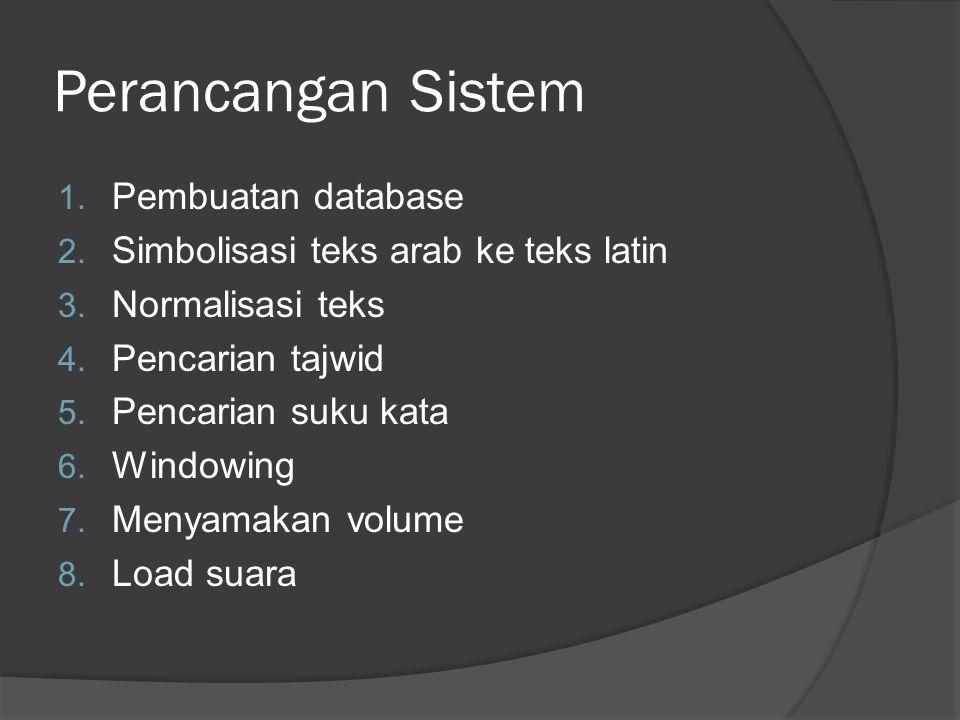 Perancangan Sistem 1.Pembuatan database 2. Simbolisasi teks arab ke teks latin 3.