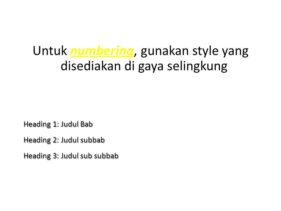 Untuk numbering, gunakan style yang disediakan di gaya selingkung Heading 1: Judul Bab Heading 2: Judul subbab Heading 3: Judul sub subbab
