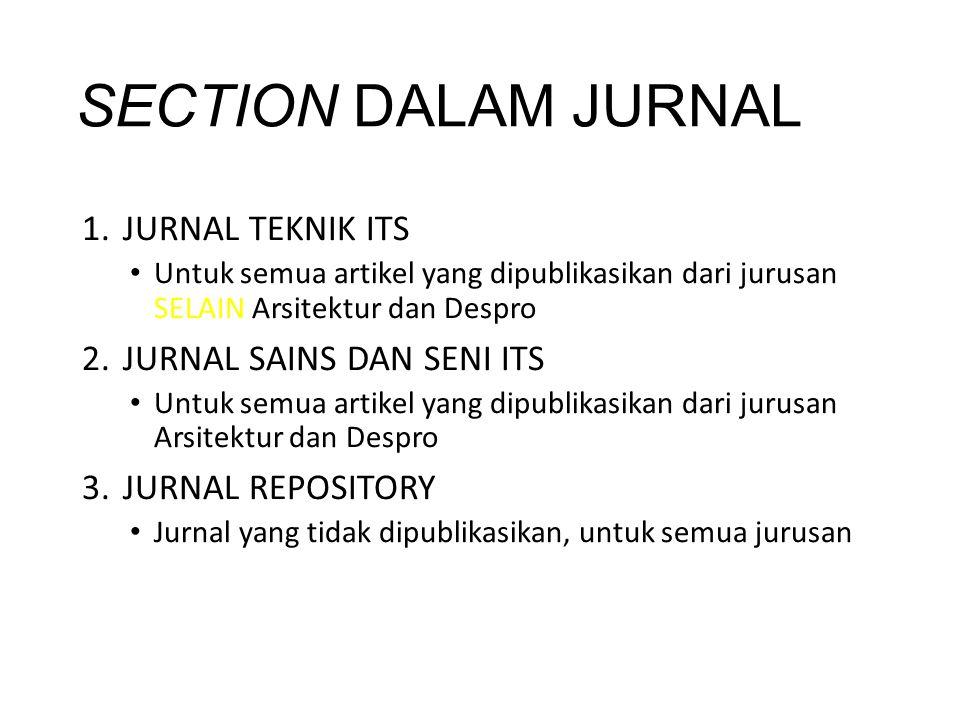 SECTION DALAM JURNAL 1.JURNAL TEKNIK ITS Untuk semua artikel yang dipublikasikan dari jurusan SELAIN Arsitektur dan Despro 2.JURNAL SAINS DAN SENI ITS
