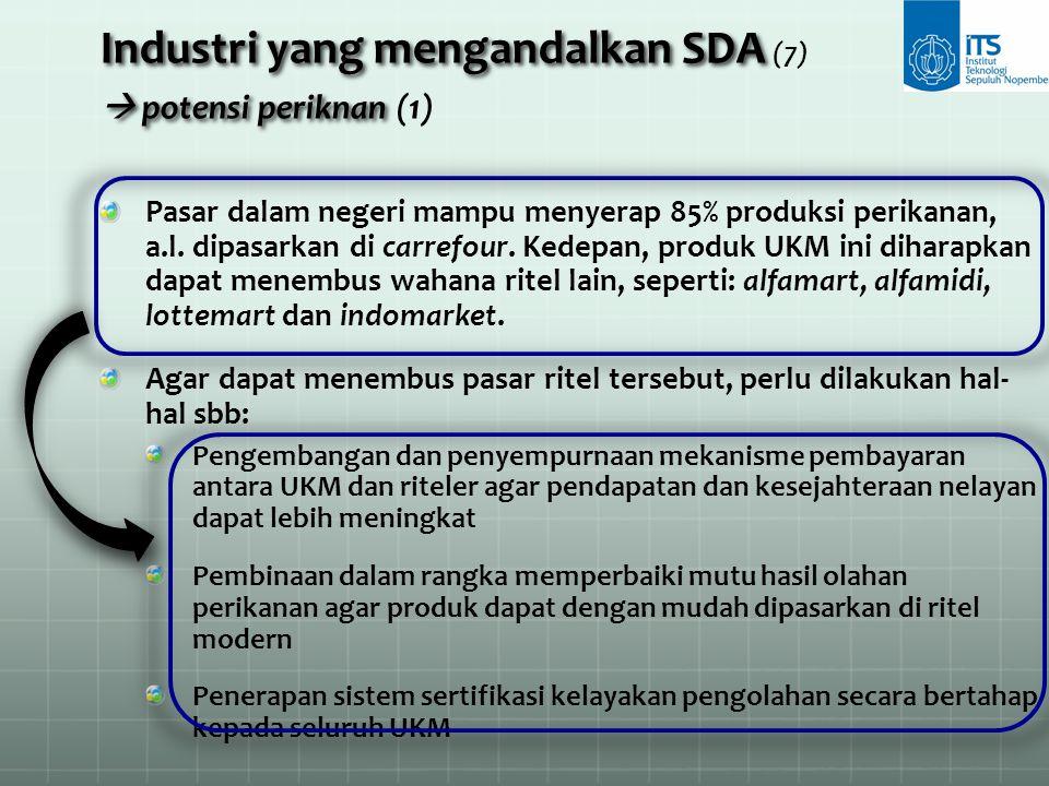 Industri yang mengandalkan SDA  potensi periknan Industri yang mengandalkan SDA (7)  potensi periknan (1) Pasar dalam negeri mampu menyerap 85% prod