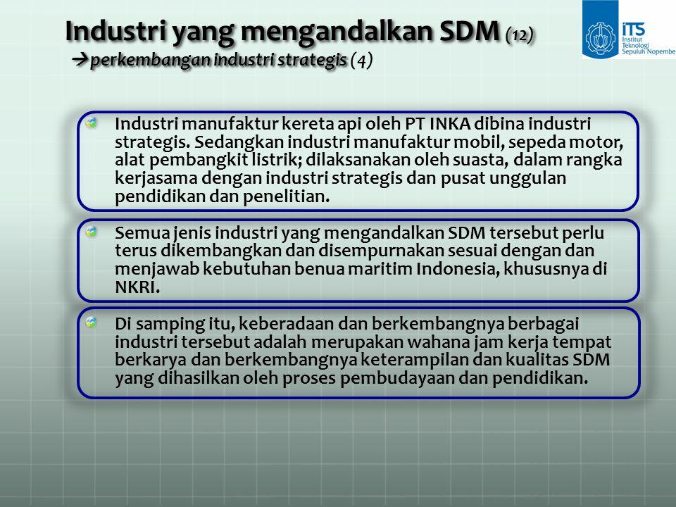 Industri manufaktur kereta api oleh PT INKA dibina industri strategis. Sedangkan industri manufaktur mobil, sepeda motor, alat pembangkit listrik; dil