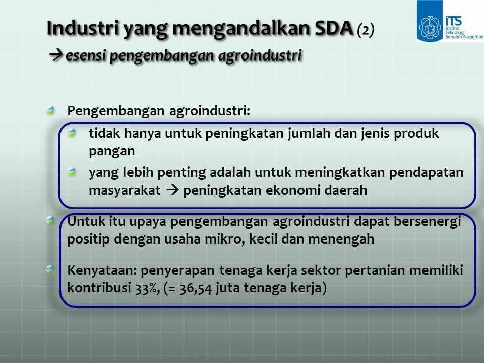 Industri yang mengandalkan SDA  esensi pengembangan agroindustri Industri yang mengandalkan SDA (2)  esensi pengembangan agroindustri Pengembangan a