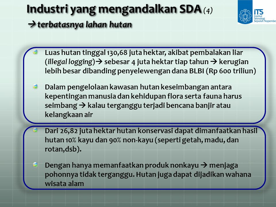 Industri yang mengandalkan SDA  terbatasnya lahan hutan Industri yang mengandalkan SDA (4)  terbatasnya lahan hutan Luas hutan tinggal 130,68 juta h