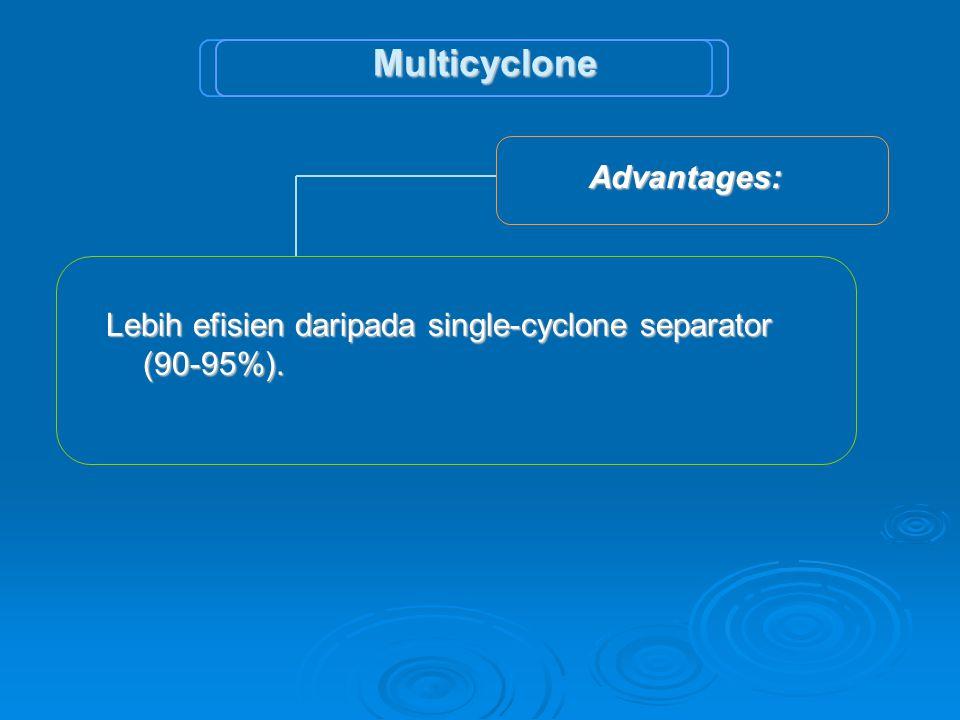 Advantages: Advantages: Lebih efisien daripada single-cyclone separator (90-95%). Multicyclone