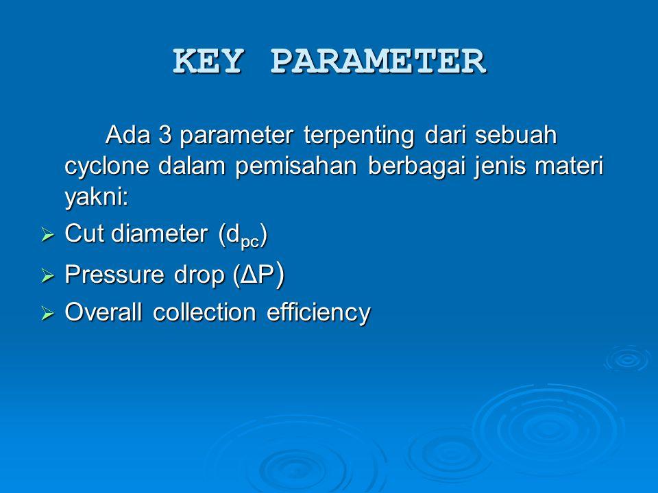 KEY PARAMETER Ada 3 parameter terpenting dari sebuah cyclone dalam pemisahan berbagai jenis materi yakni:  Cut diameter (d pc )  Pressure drop (ΔP )