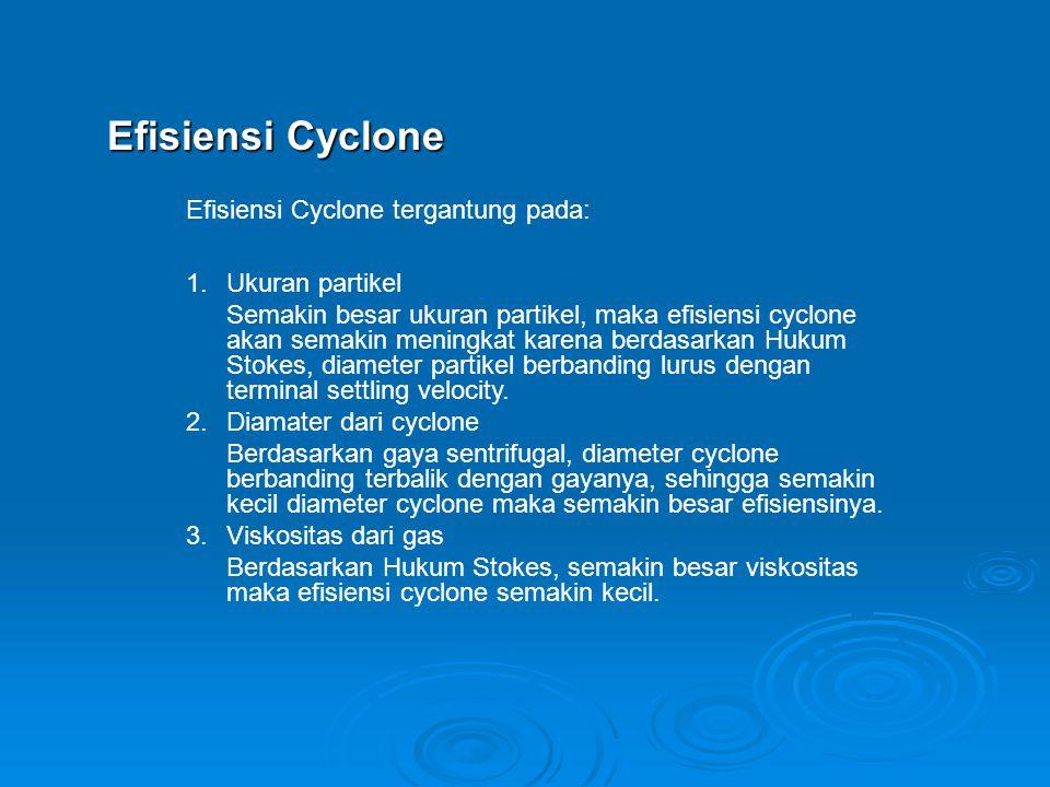 Efisiensi Cyclone Efisiensi Cyclone tergantung pada: 1.Ukuran partikel Semakin besar ukuran partikel, maka efisiensi cyclone akan semakin meningkat ka