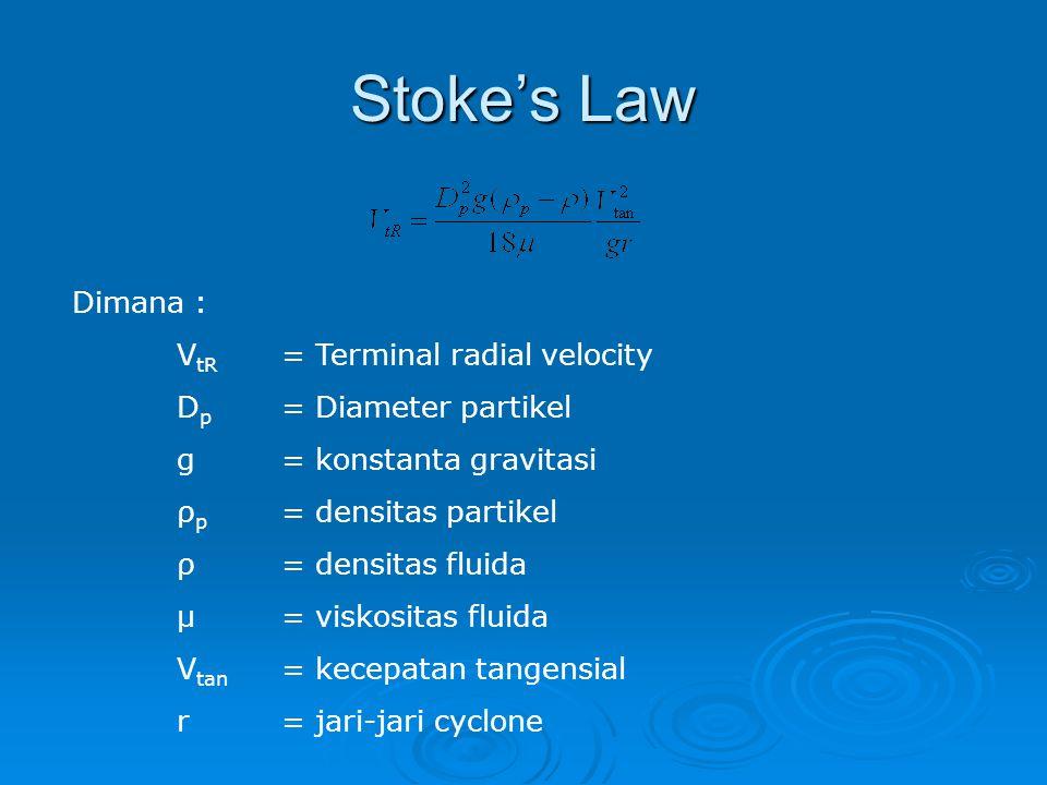 Stoke's Law Dimana : V tR = Terminal radial velocity D p = Diameter partikel g= konstanta gravitasi ρ p = densitas partikel ρ= densitas fluida μ= visk