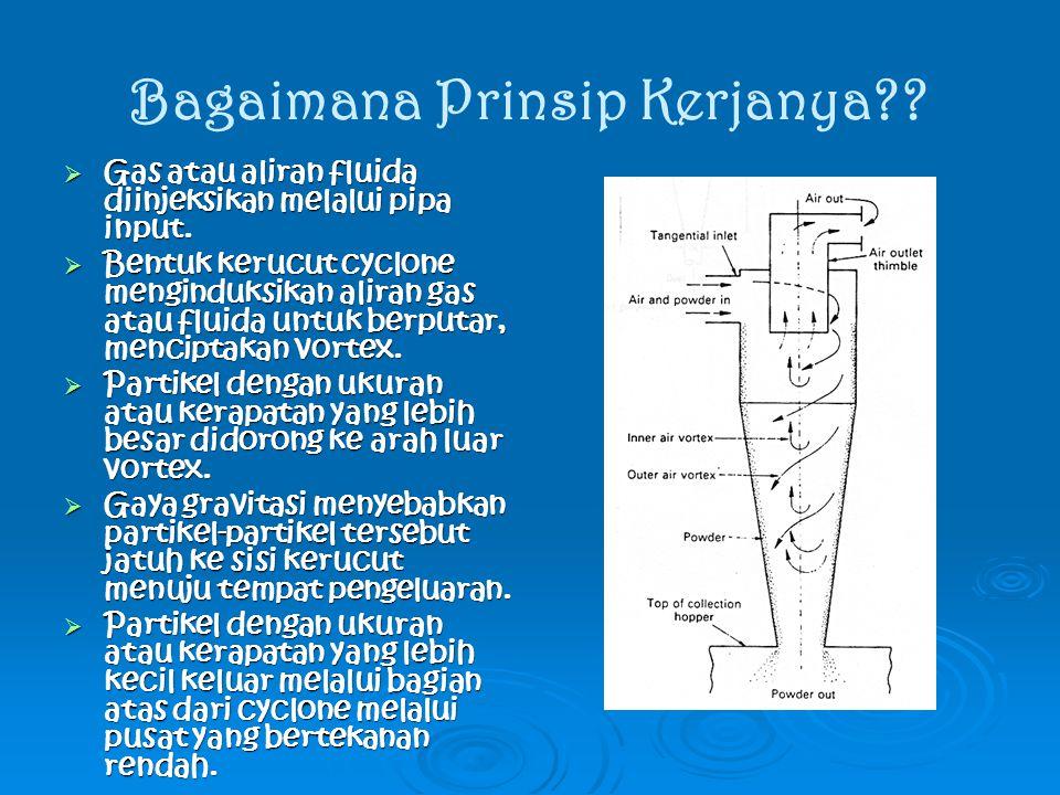 Bagaimana Prinsip Kerjanya??  Gas atau aliran fluida diinjeksikan melalui pipa input.  Bentuk kerucut cyclone menginduksikan aliran gas atau fluida