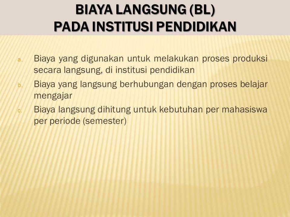 HITUNG BIAYA LANGSUNG (BL) PER MAHASISWA PER AKTIVITAS 1.