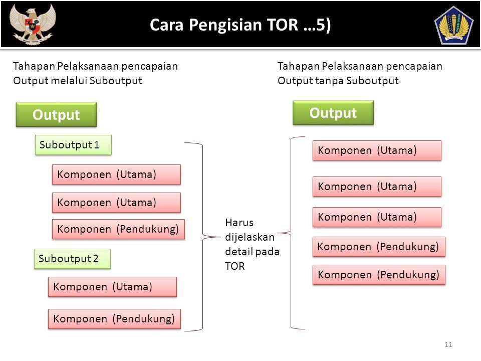 POKOK BAHASAN 11 Cara Pengisian TOR …5) Output Suboutput 1 Tahapan Pelaksanaan pencapaian Output melalui Suboutput Tahapan Pelaksanaan pencapaian Output tanpa Suboutput Komponen (Utama) Komponen (Pendukung) Suboutput 2 Komponen (Utama) Komponen (Pendukung) Output Komponen (Utama) Komponen (Pendukung) Harus dijelaskan detail pada TOR Komponen (Utama) Komponen (Pendukung)