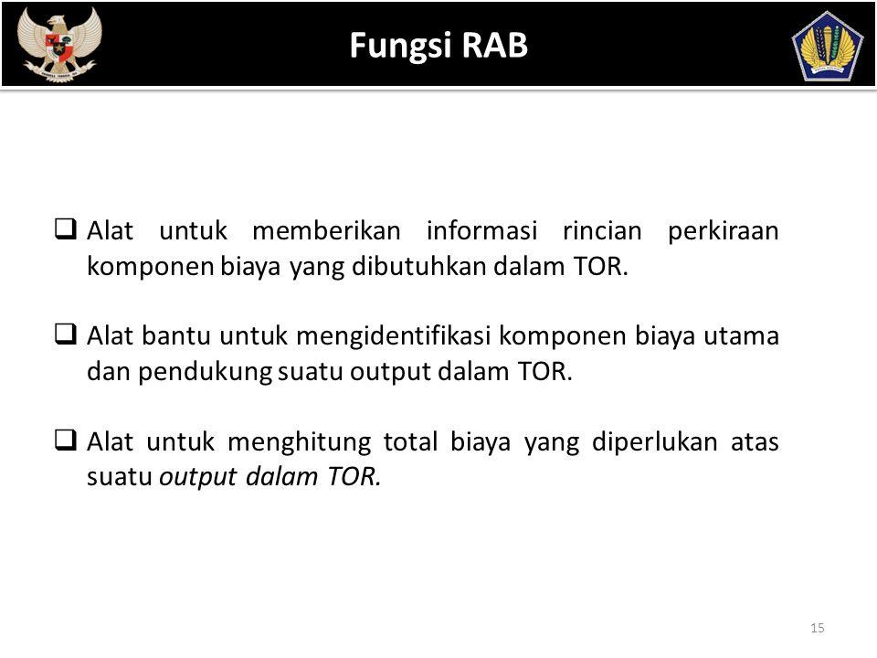 POKOK BAHASAN 15 Fungsi RAB  Alat untuk memberikan informasi rincian perkiraan komponen biaya yang dibutuhkan dalam TOR.  Alat bantu untuk mengident