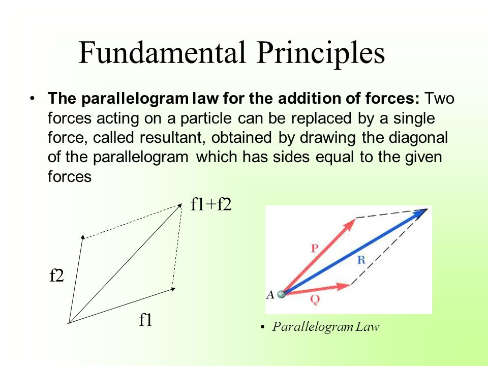Fundamental Principles The parallelogram law for the addition of forces: Two forces acting on a particle can be replaced by a single force, called res
