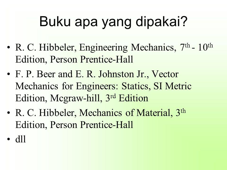 Buku apa yang dipakai? R. C. Hibbeler, Engineering Mechanics, 7 th - 10 th Edition, Person Prentice-Hall F. P. Beer and E. R. Johnston Jr., Vector Mec