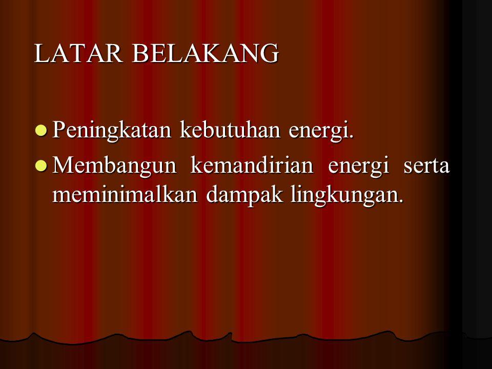 LATAR BELAKANG Peningkatan kebutuhan energi.Peningkatan kebutuhan energi.