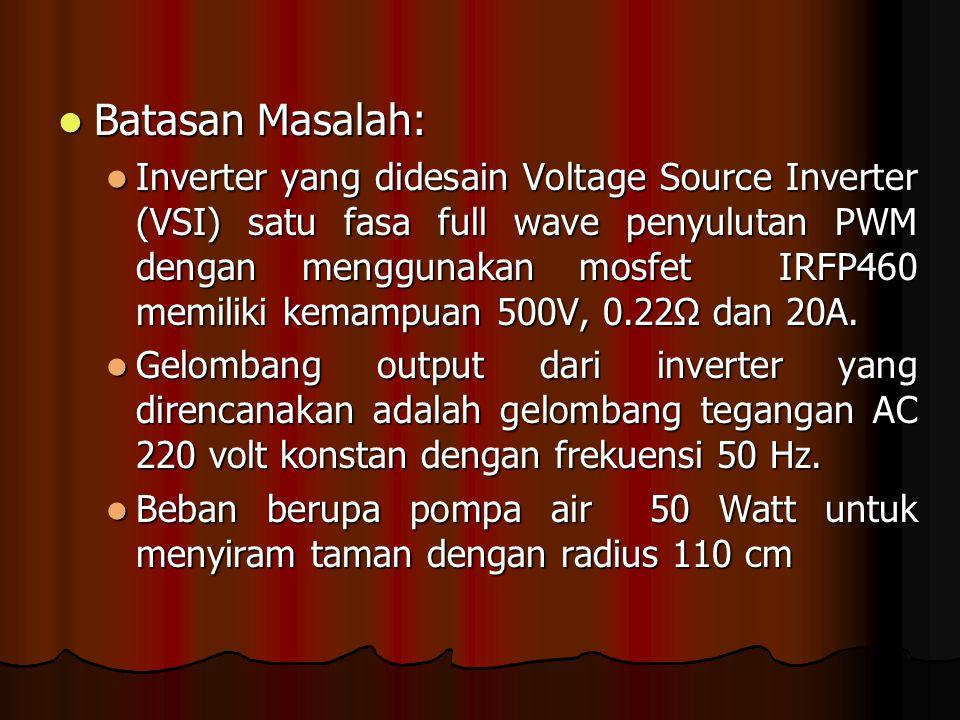 Batasan Masalah: Batasan Masalah: Inverter yang didesain Voltage Source Inverter (VSI) satu fasa full wave penyulutan PWM dengan menggunakan mosfet IRFP460 memiliki kemampuan 500V, 0.22Ω dan 20A.