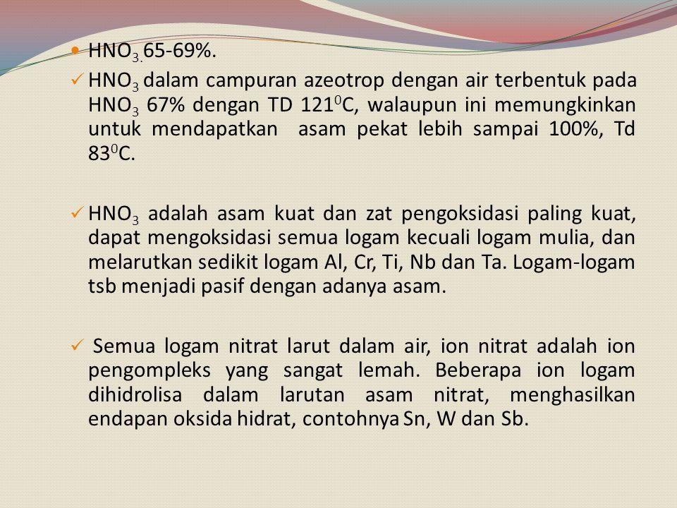H 2 SO 4 98% TD 330 0 C (TD nya paling tinggi), dapat digunakan pada suhu tinggi untuk proses pelarutan, termasuk asam kuat dan zat pengoksidasi kuat ketika dipanaskan.