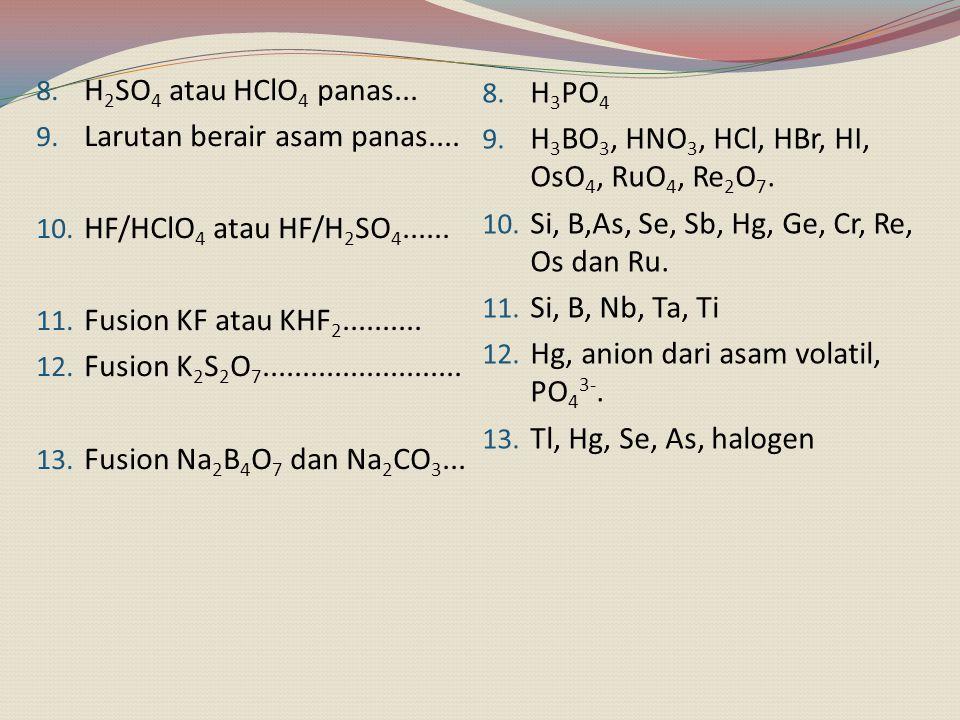8. H 2 SO 4 atau HClO 4 panas... 9. Larutan berair asam panas.... 10. HF/HClO 4 atau HF/H 2 SO 4...... 11. Fusion KF atau KHF 2.......... 12. Fusion K