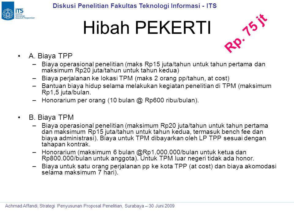 Diskusi Penelitian Fakultas Teknologi Informasi - ITS Achmad Affandi, Strategi Penyusunan Proposal Penelitian, Surabaya – 30 Juni 2009 Hibah PEKERTI A